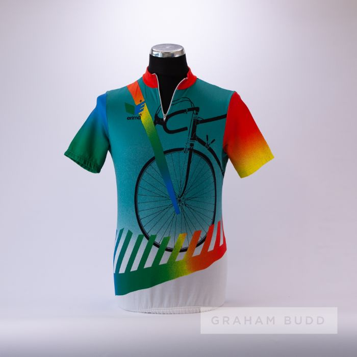 1985 turquoise, orange, blue and green Erima Art Cycling team race jersey, scarce, polyester