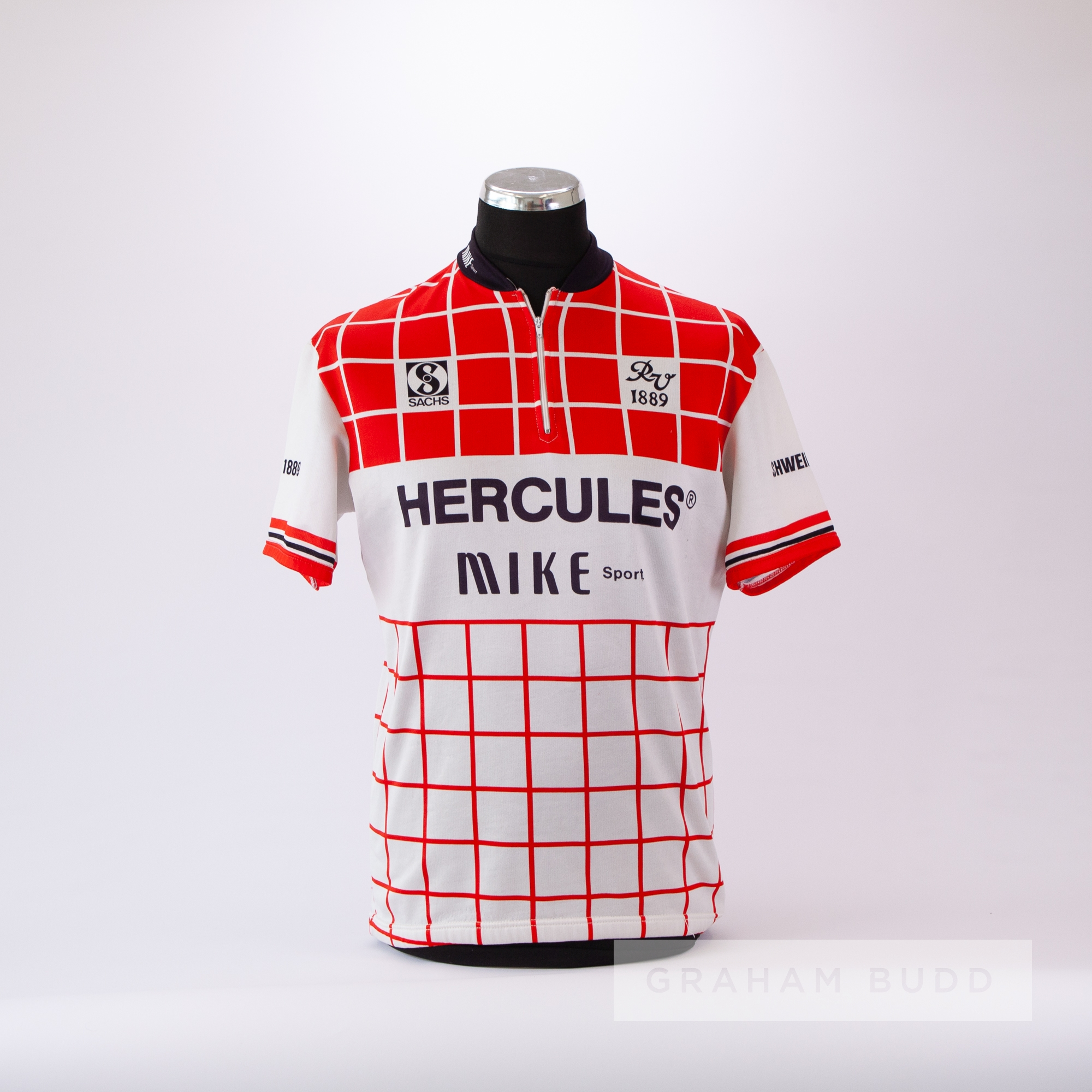 1989 red, white and black Hercules Sachs Cycling team race jersey, scarce, polyester short-sleeved - Image 3 of 4