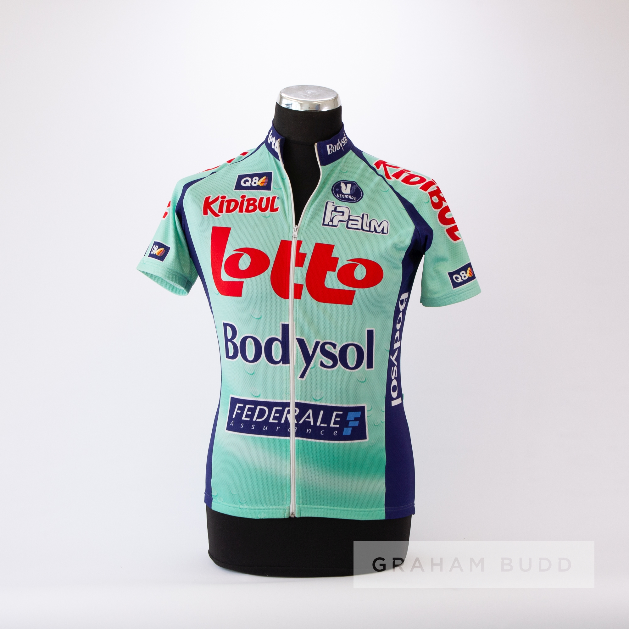 2009 aqua and navy Belgium Lotto Bodysol Cycling team race jersey, scarce, polyester short-sleeved - Image 3 of 4