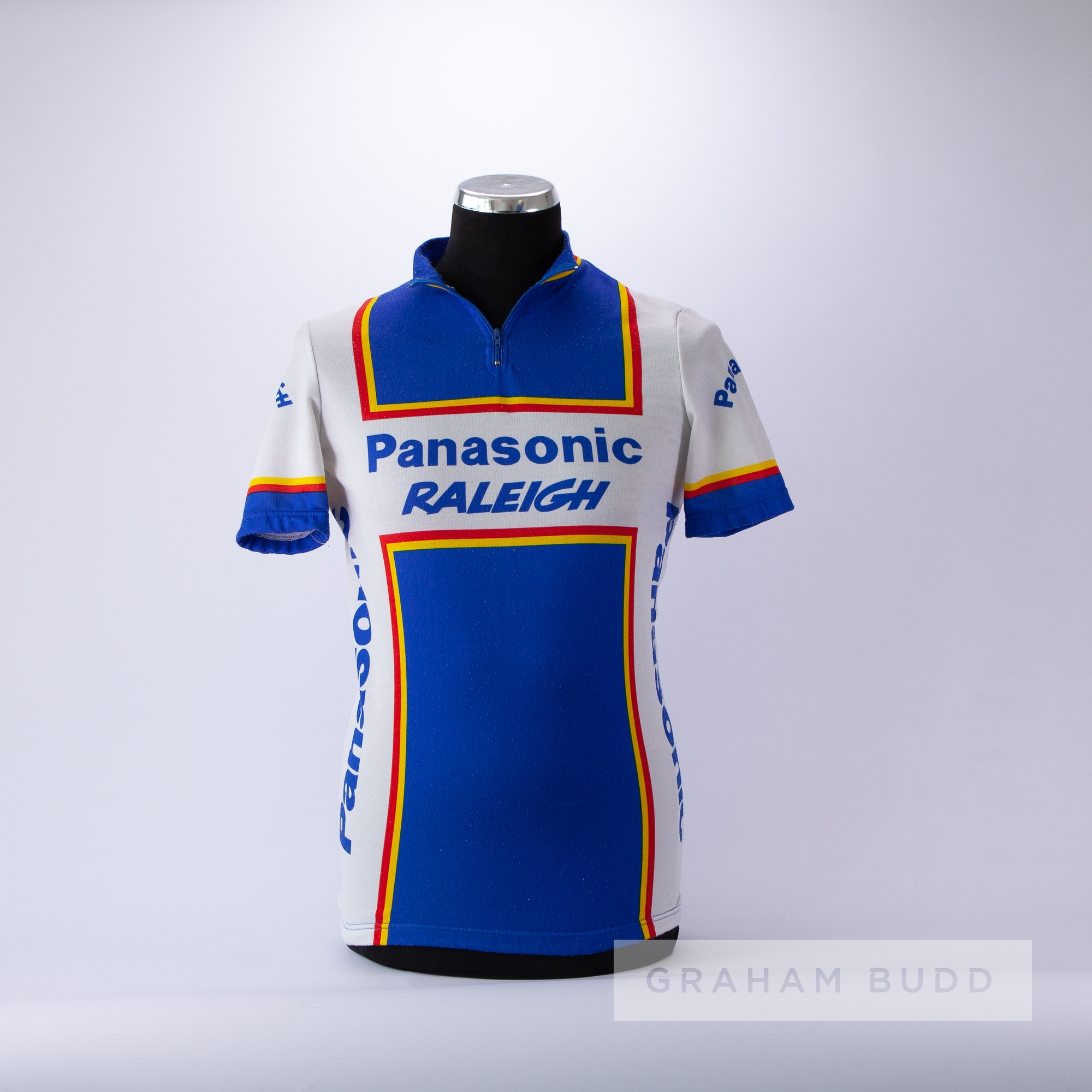 1986 blue, red, yellow and white Italian Panasonic Raleigh Cycling team race jersey, scarce, - Image 3 of 4