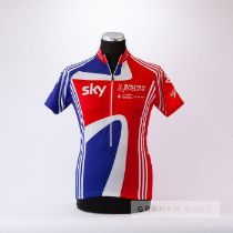 2011 red, white and blue Great Britain Adidas Sky Cycling race jersey, scarce, polyester short-