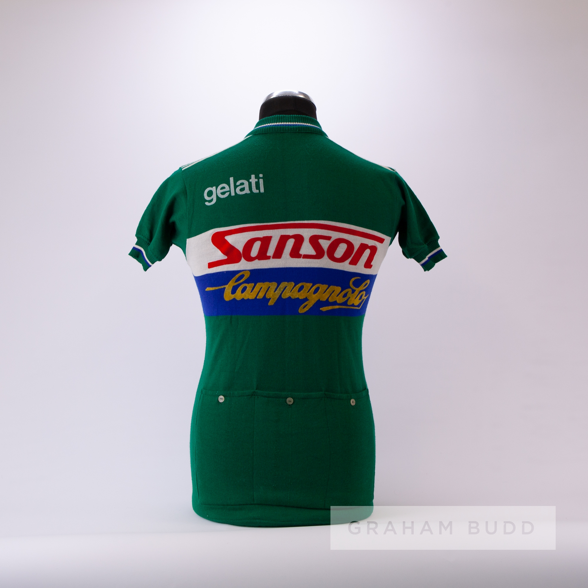 1970s green, white and blue vintage Sanson Campagnolo Cycling team race jersey, scarce, wool and - Image 4 of 4