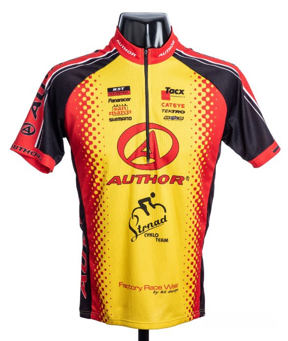2008 yellow, red and black Czech Elkov Kasper Author Cycles Cycling race jersey, scarce, polyester