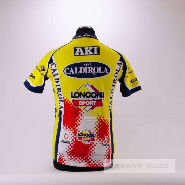 2000 yellow, navy, white and red Italian Vini Caldirola Sidermec Cycling team race jersey, scarce, - Image 2 of 4