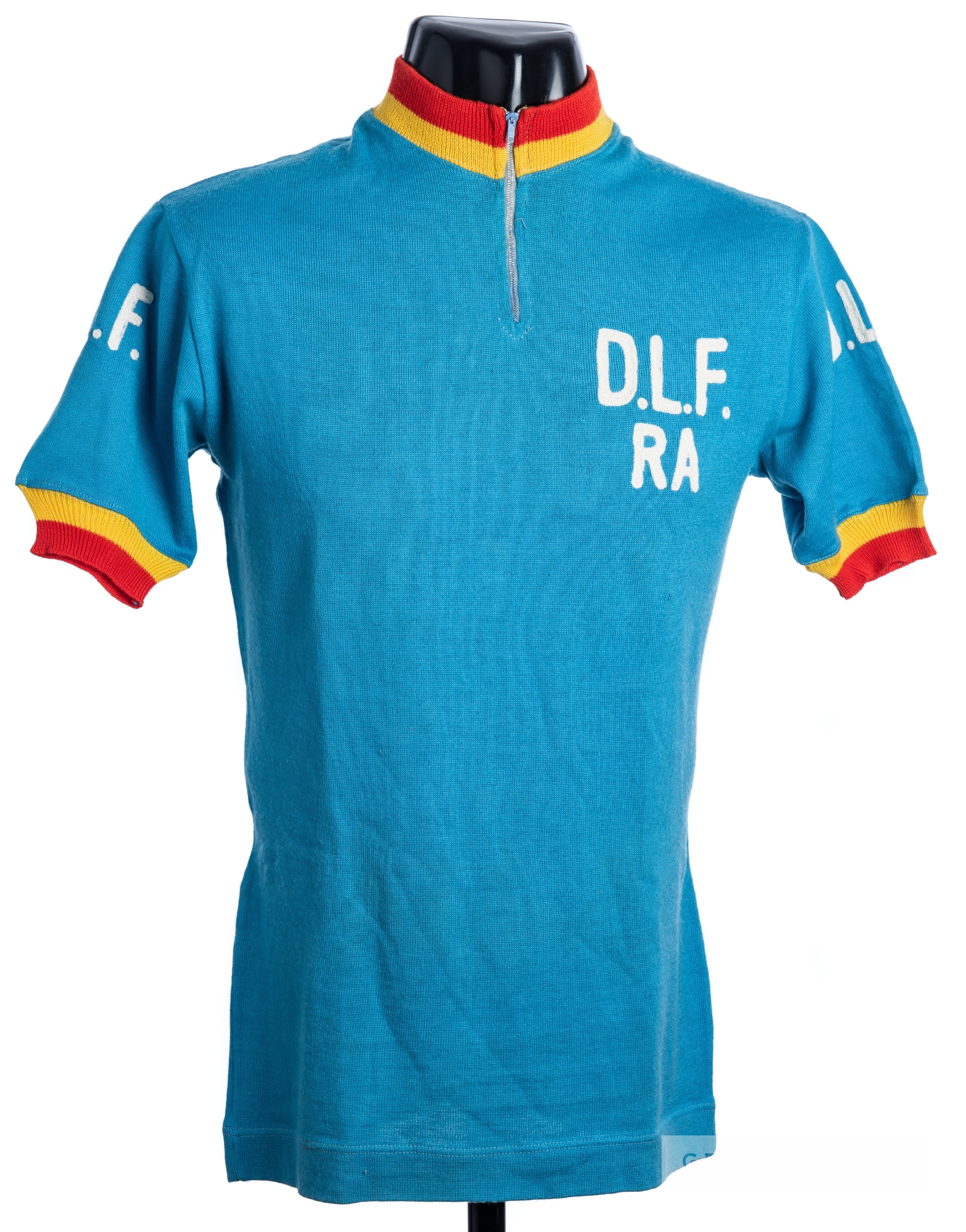 1975 blue, yellow and red vintage Dopolavoro Ferroviario Ravenna Italian Cycling team race jersey, - Image 3 of 4