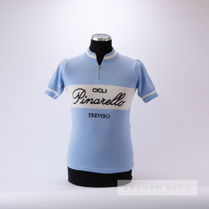 1970s light blue and white vintage Cicli Pinarello Cycling race jersey, scarce, wool short-sleeved