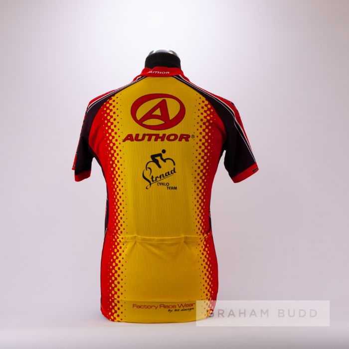 2008 yellow, red and black Czech Elkov Kasper Author Cycles Cycling race jersey, scarce, polyester - Image 2 of 4