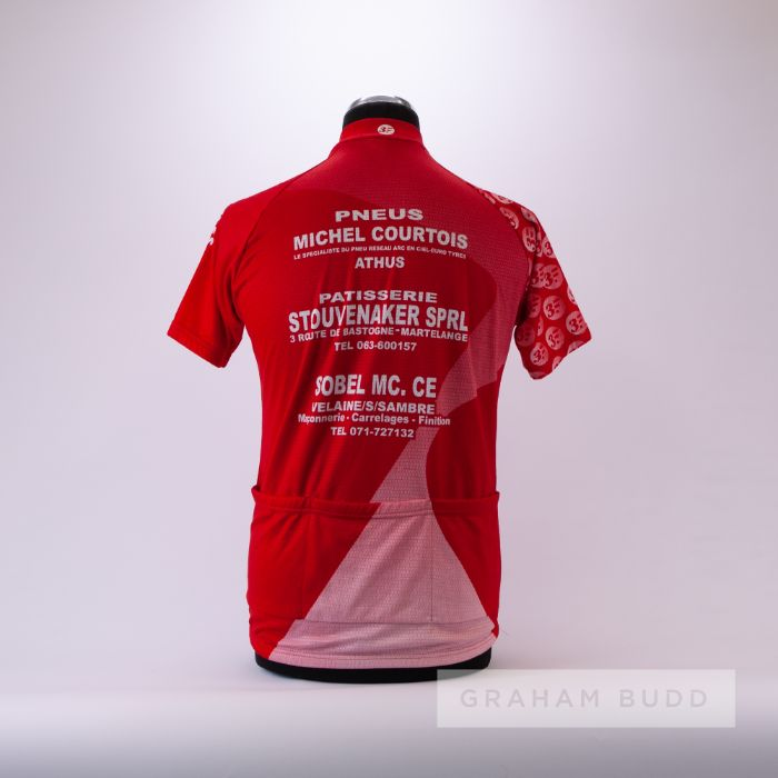 1992 red and white Belgium Cycling team race jersey, scarce, polyester short-sleeved jersey with - Image 2 of 4