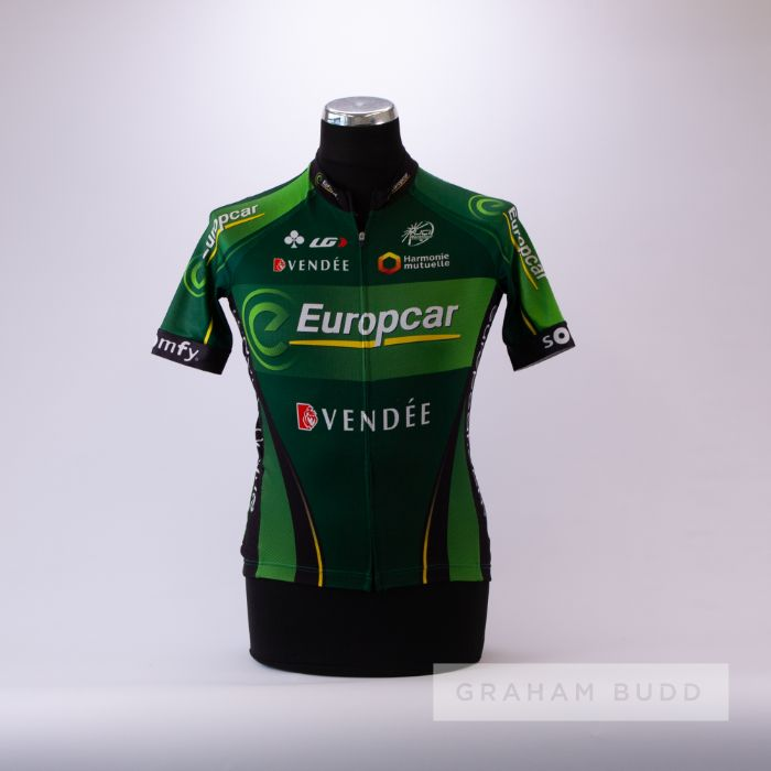 2011 green, black and yellow French Europcar Cycling team race jersey, scarce, polyester short-