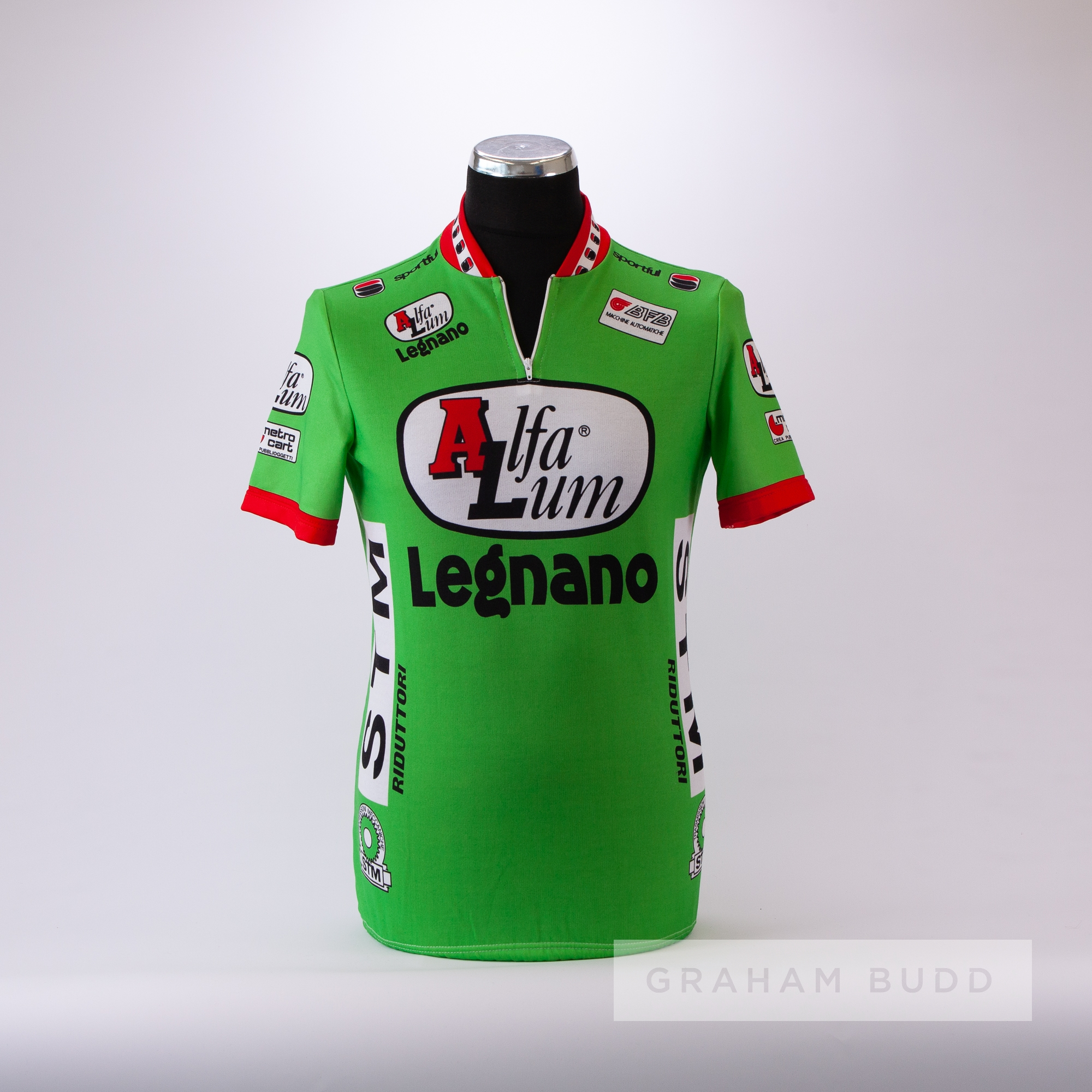 1988 green, white, red and black Italian Alfa Lum Legnano Cycling race jersey, scarce, polyester - Image 3 of 4
