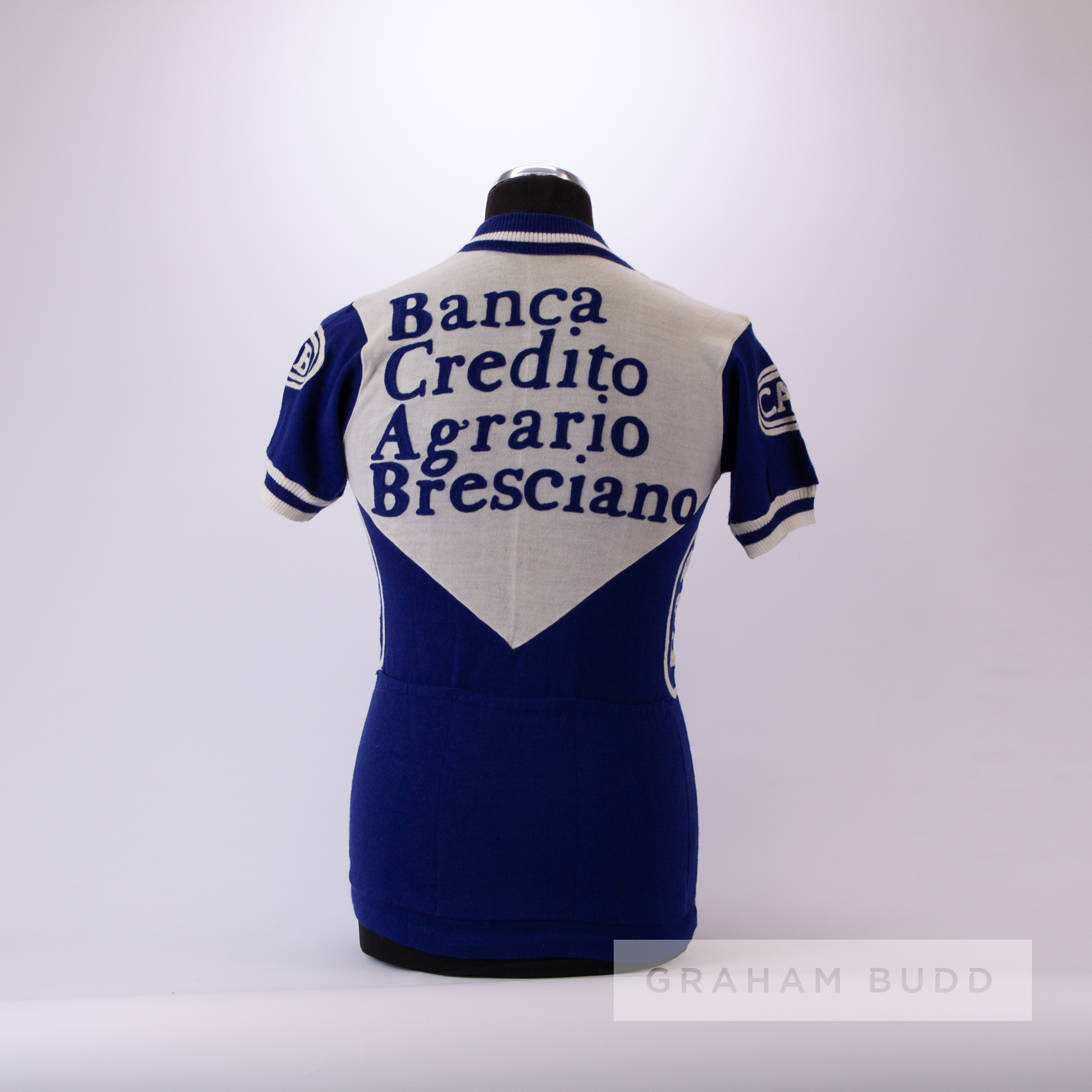 1978 white and blue vintage Italian Eroica Cycling team race/tour jersey, scarce, acrylic short- - Image 4 of 4