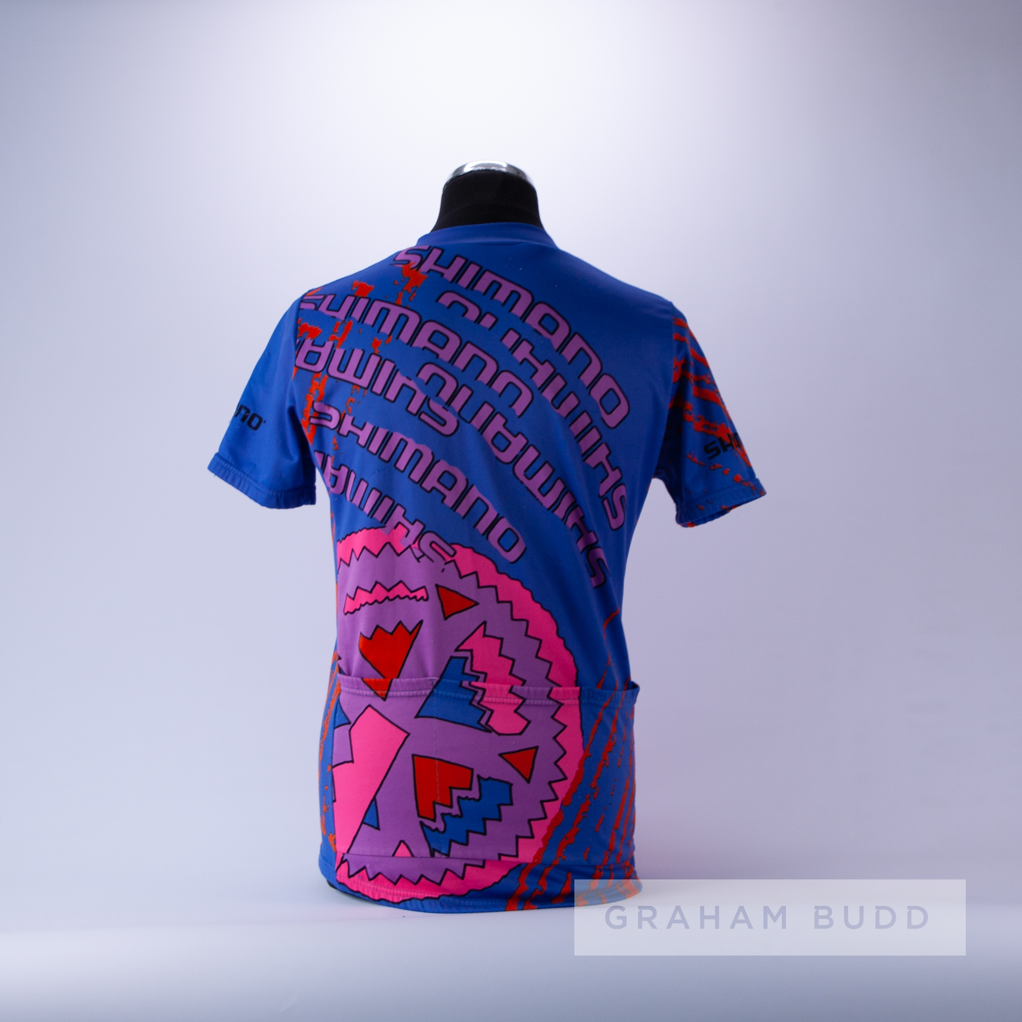1990 blue, pink, purple and red Shimano Biemme Cycling race jersey, scarce, polyester and tactel - Image 4 of 4