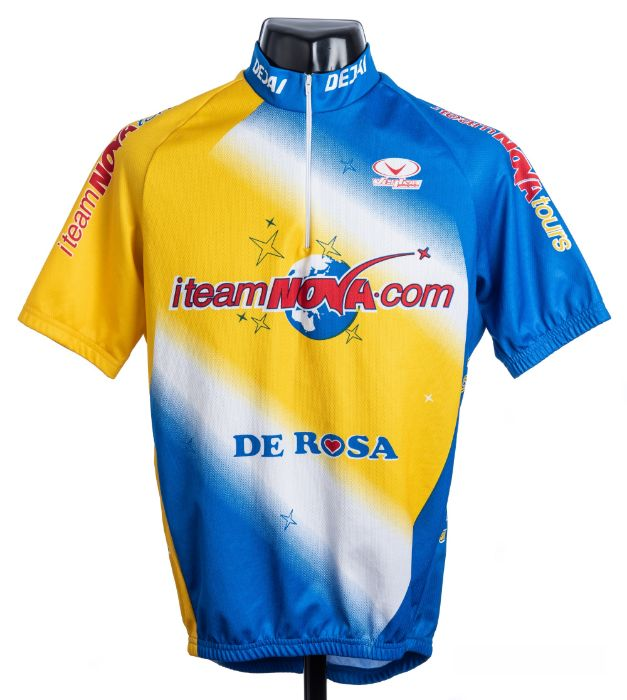 2002 blue, yellow and white i-Team Nova De RosaCycling race jersey, scarce, polyester short-sleeved