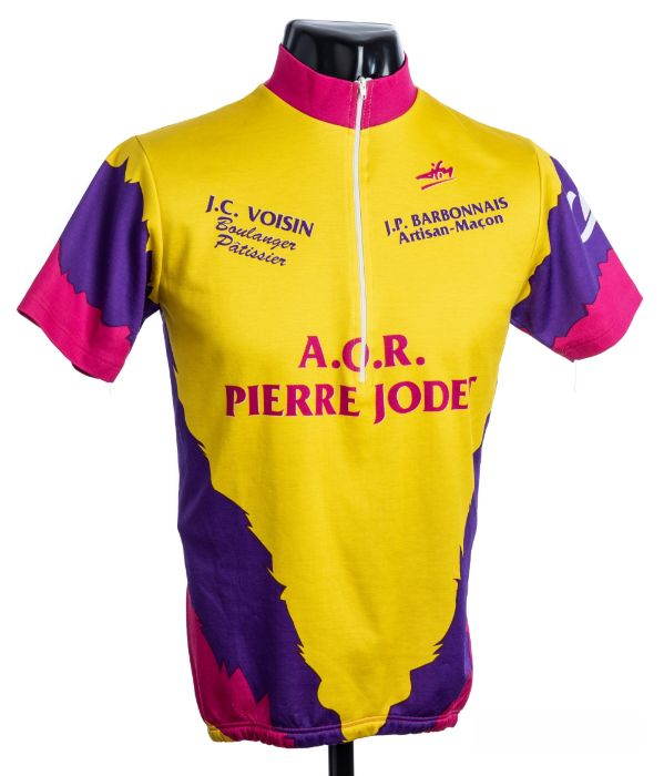 1982 yellow, pink and purple Cycling race jersey to celebrate the birthday of French cycle racer
