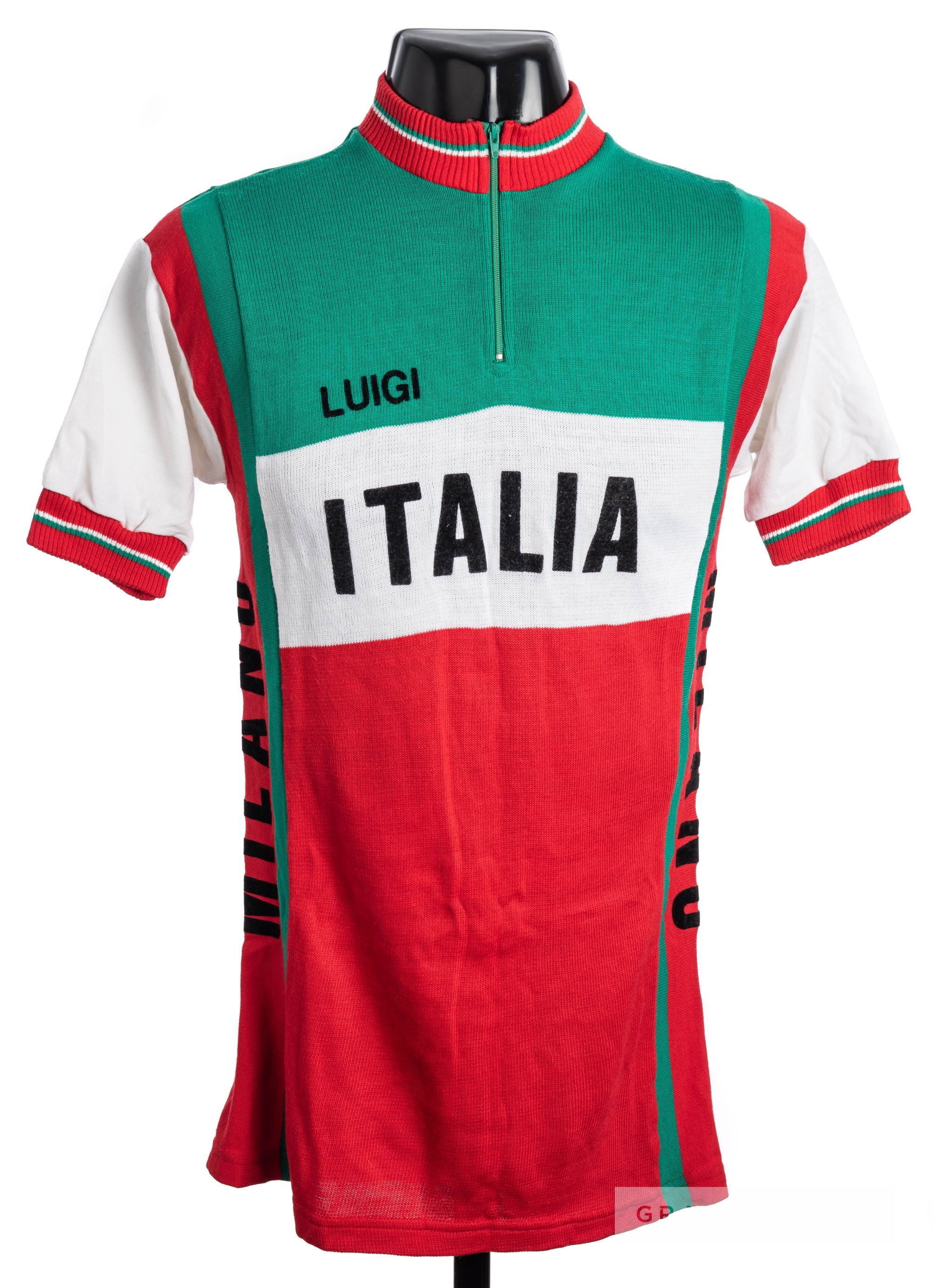 1969 green, white and red vintage Italia Pink Soda Cycling race jersey, scarce, wool short-sleeved - Image 3 of 4