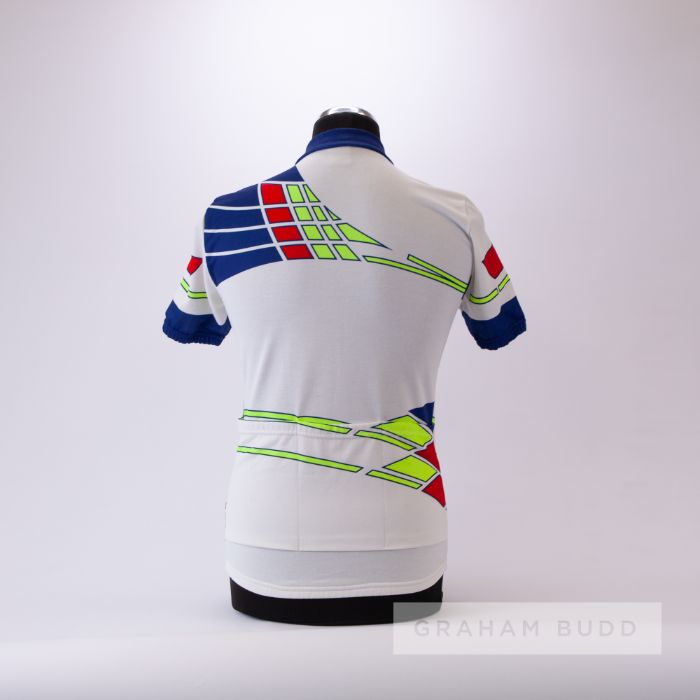 1986 white, navy, red and yellow Raleigh Cycling team race jersey, scarce, polyester short-sleeved - Image 2 of 4