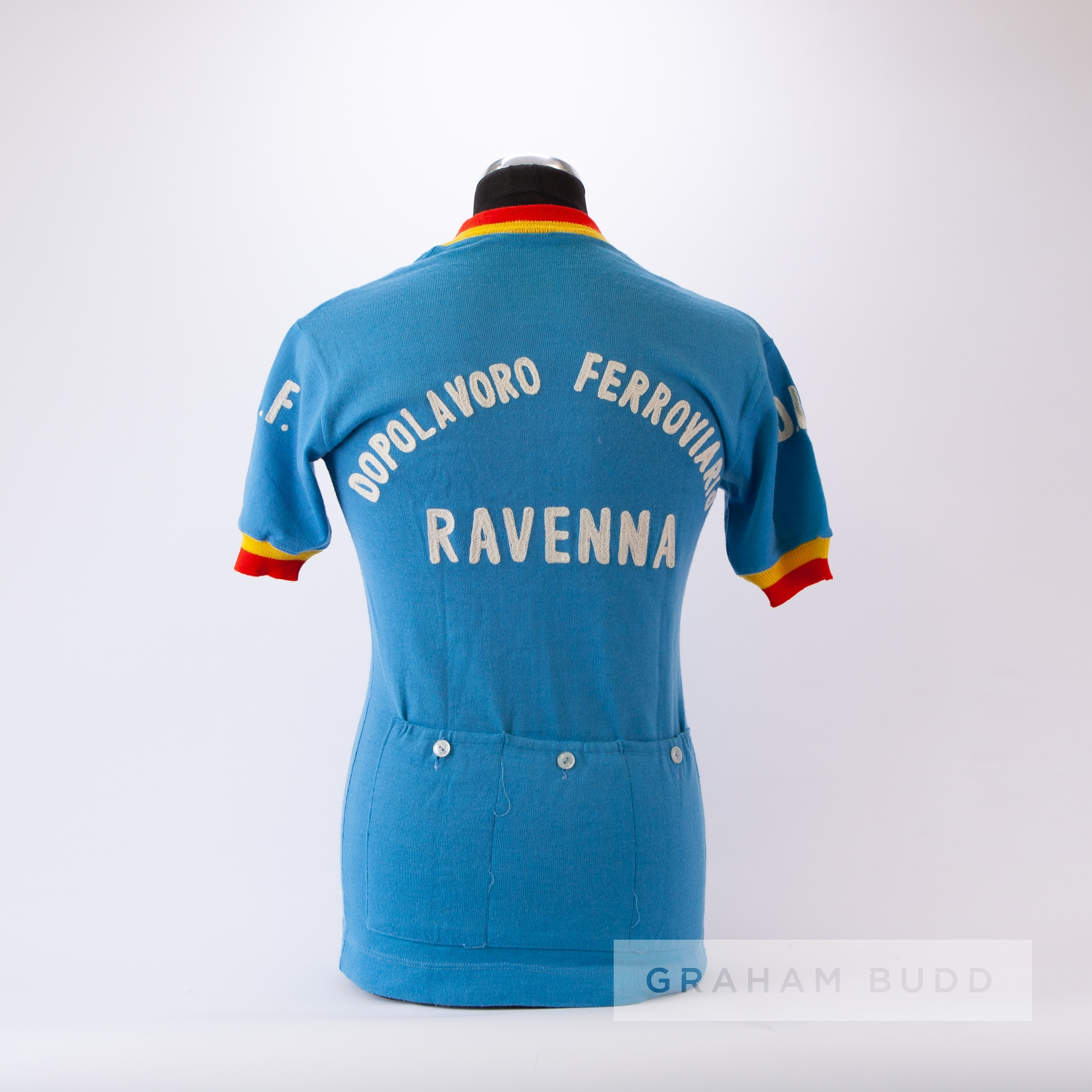 1975 blue, yellow and red vintage Dopolavoro Ferroviario Ravenna Italian Cycling team race jersey, - Image 4 of 4