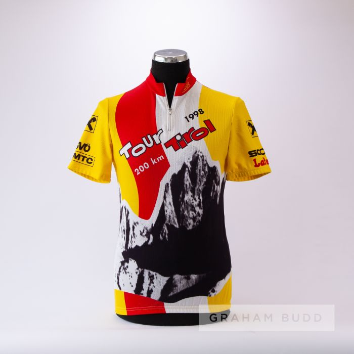 1998 yellow, black, red and white Tour Tirol 200 km Cycling race jersey, scarce, polyester short-