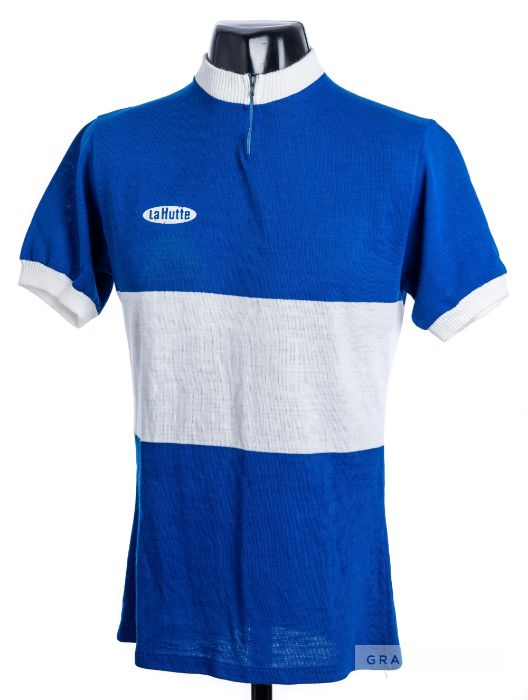 1985 blue and white La Hutte Eroica Cycling team race/tour jersey, scarce, acrylic short-sleeved