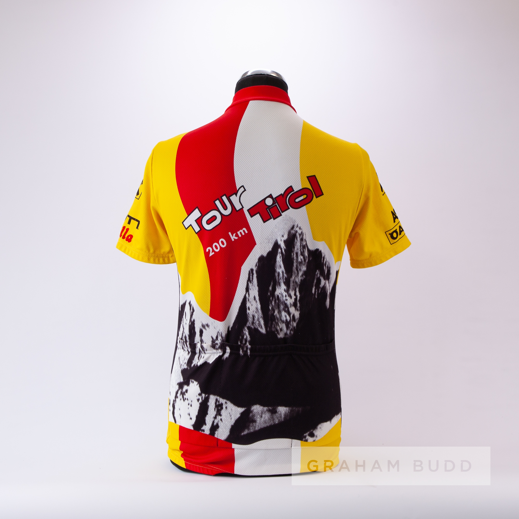 1998 yellow, black, red and white Tour Tirol 200 km Cycling race jersey, scarce, polyester short- - Image 4 of 4