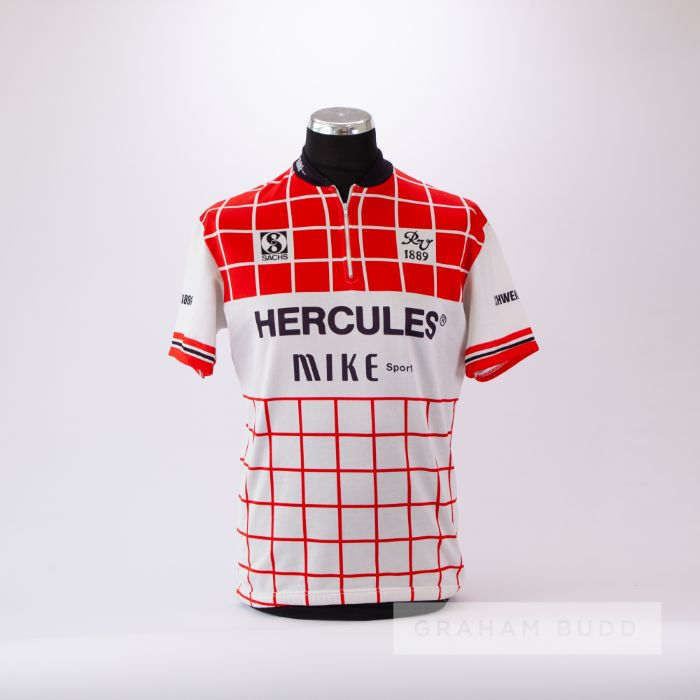 1989 red, white and black Hercules Sachs Cycling team race jersey, scarce, polyester short-sleeved