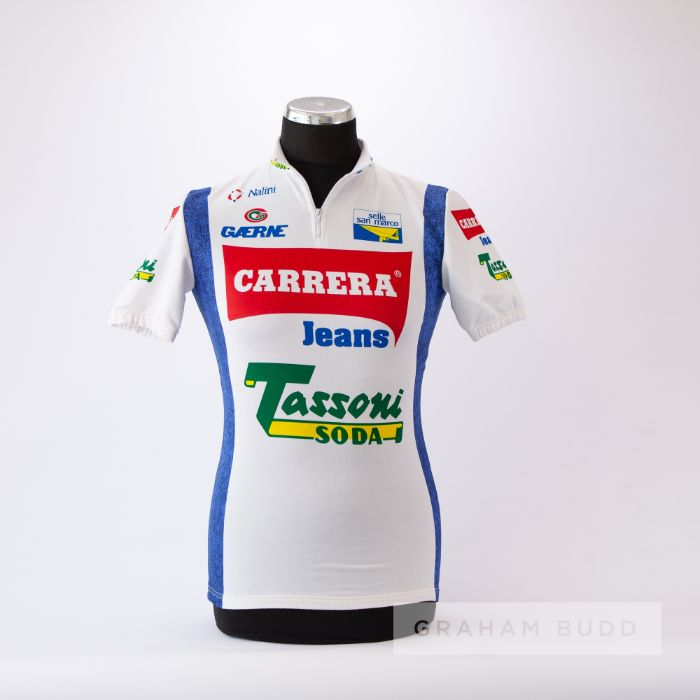 1992 white, red and blue Italian Carrera Jeans Denim Cycling team race jersey, scarce, synthetic