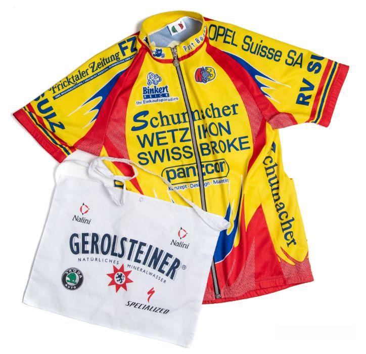 2006 yellow, red and blue WetzIkon SwissBroke Cycling race jersey in the style worn by Stefan