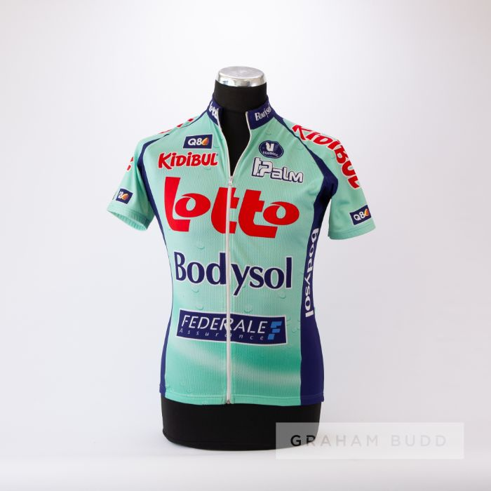 2009 aqua and navy Belgium Lotto Bodysol Cycling team race jersey, scarce, polyester short-sleeved