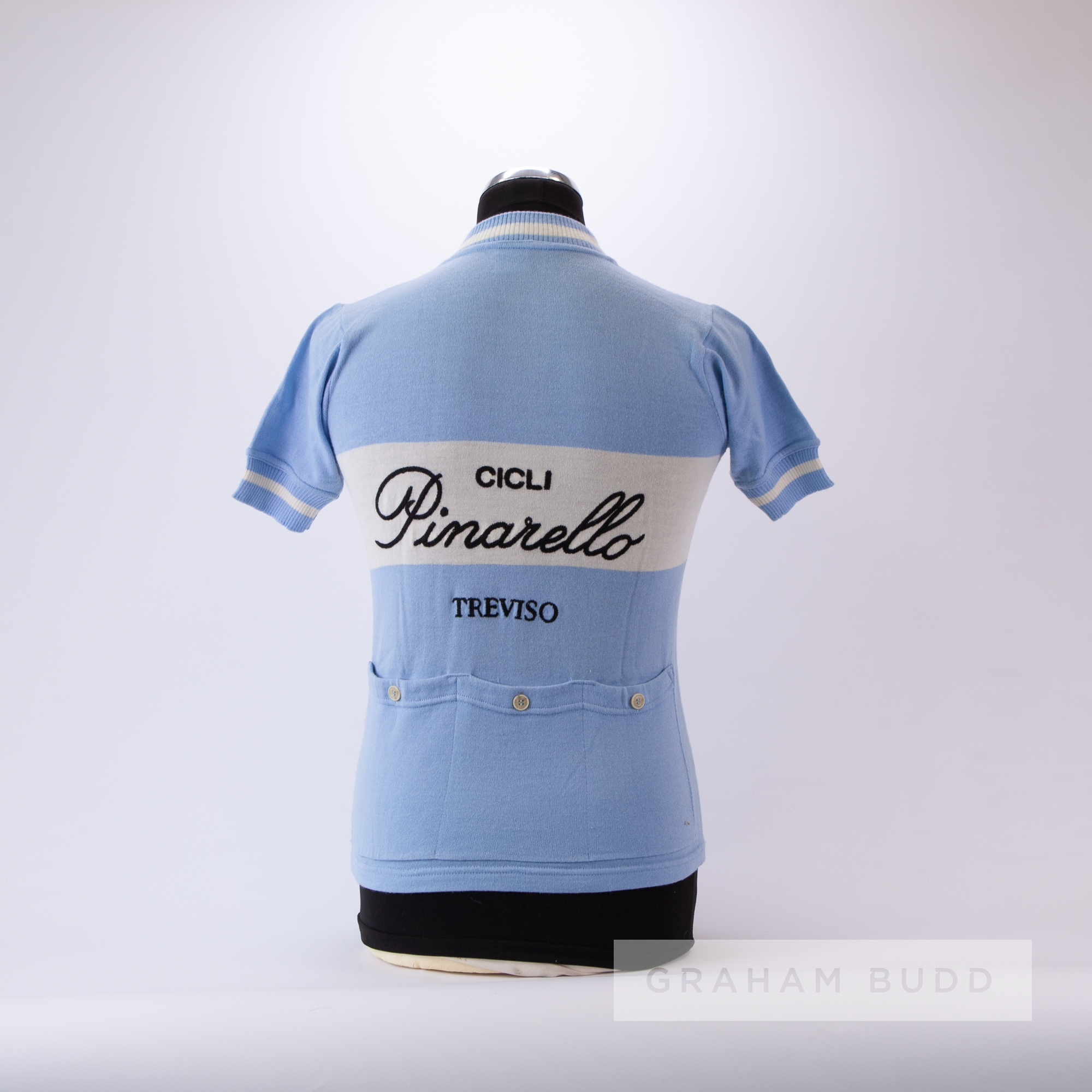 1970s light blue and white vintage Cicli Pinarello Cycling race jersey, scarce, wool short-sleeved - Image 4 of 4