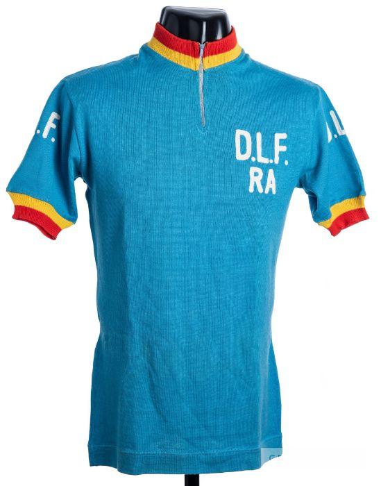 1975 blue, yellow and red vintage Dopolavoro Ferroviario Ravenna Italian Cycling team race jersey,