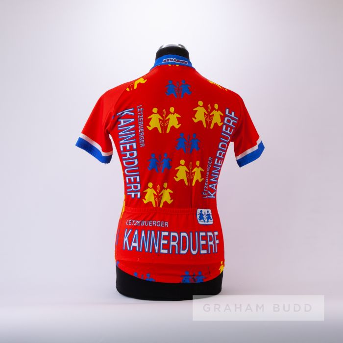 1985 orange, white, red and yellow Gigi Cycling team race jersey, scarce, polyester short-sleeved - Image 2 of 4