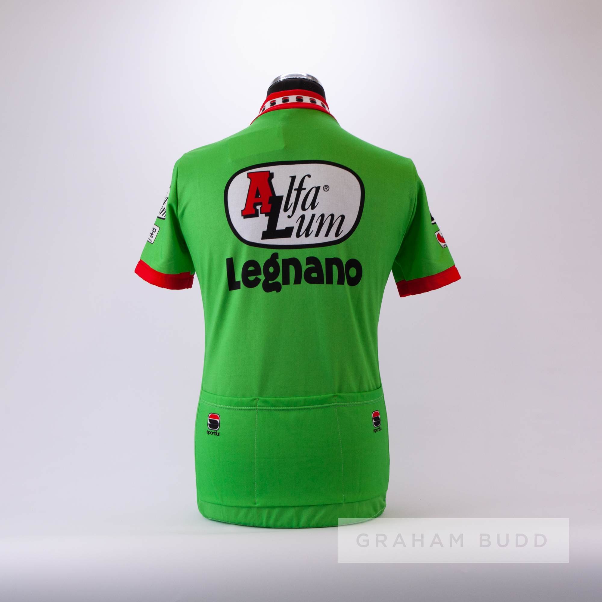 1988 green, white, red and black Italian Alfa Lum Legnano Cycling race jersey, scarce, polyester - Image 4 of 4