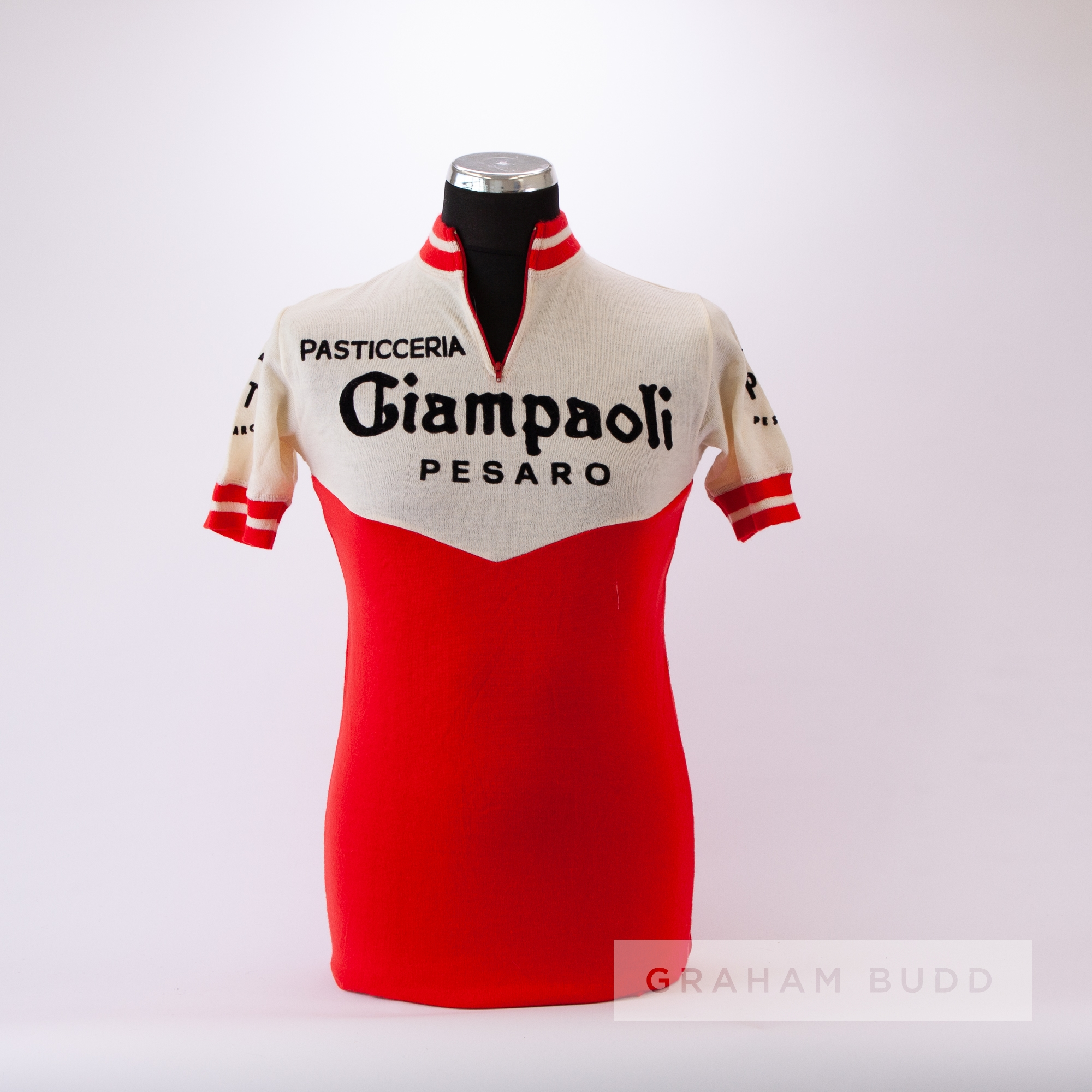 1971 red and cream vintage Italian Giampaoli Eroica Cycling race jersey, scarce, wool short- - Image 3 of 4