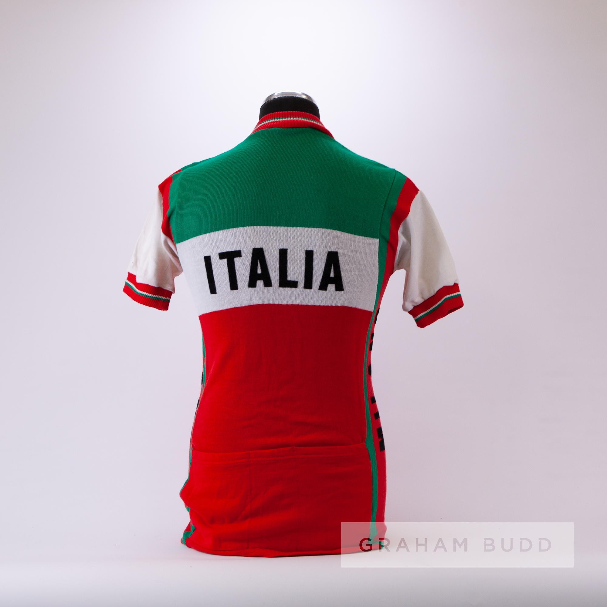 1969 green, white and red vintage Italia Pink Soda Cycling race jersey, scarce, wool short-sleeved - Image 4 of 4
