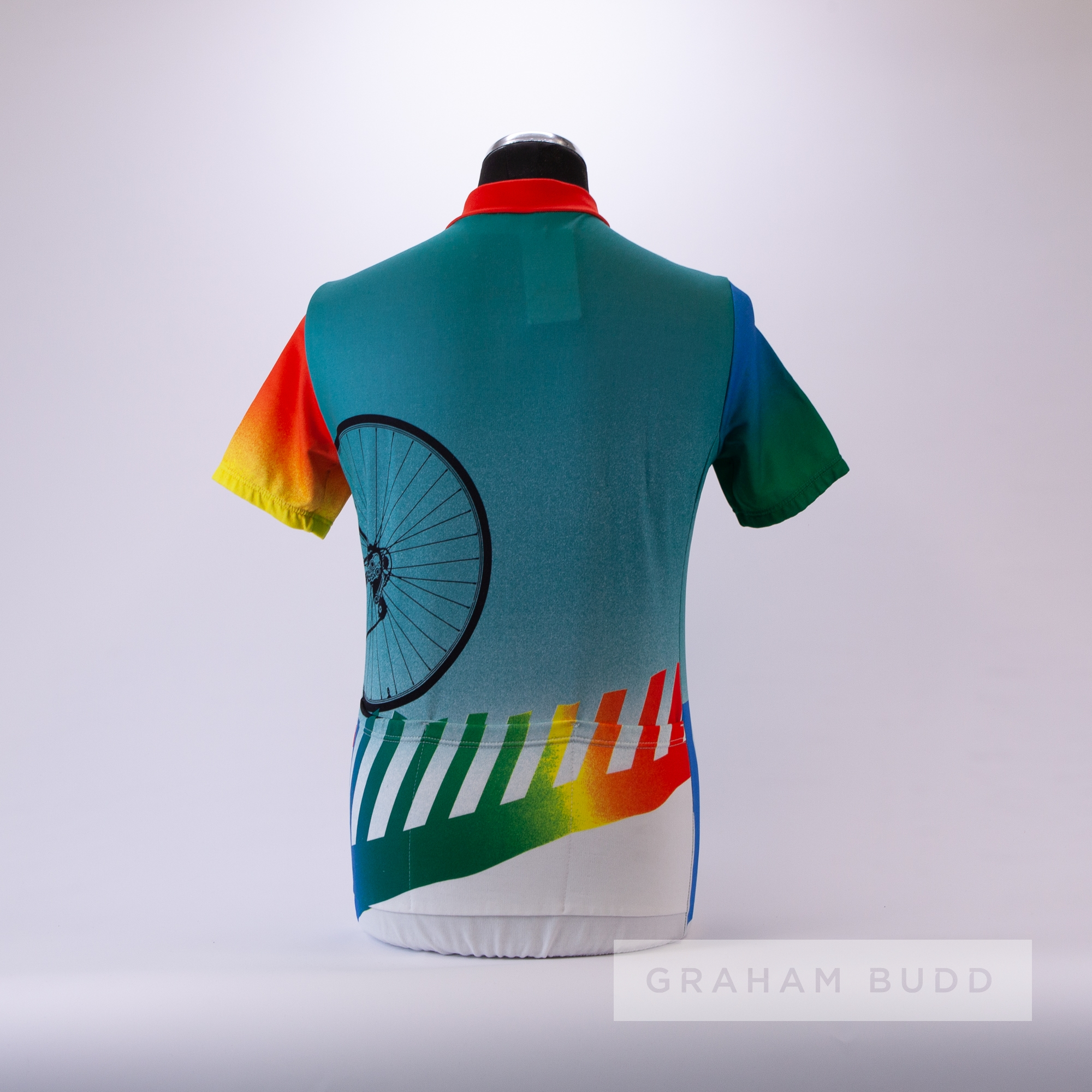 1985 turquoise, orange, blue and green Erima Art Cycling team race jersey, scarce, polyester - Image 4 of 4