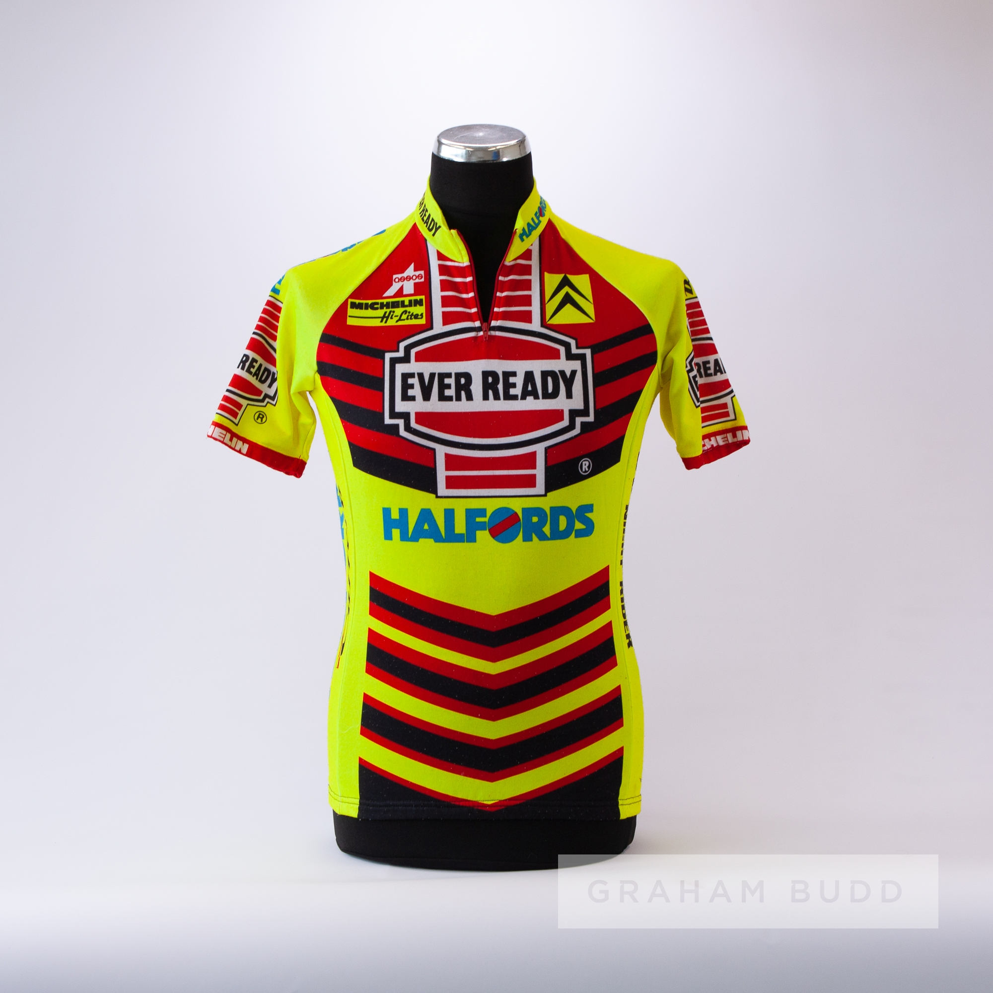 1990 yellow, red and black Ever Ready Halfords Assos Cycling race jersey, scarce, polyester short- - Image 3 of 4