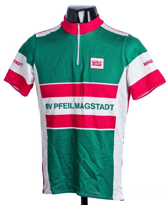 2005 green, white and pink German Gebert Sport RV Pfeil Magstadt Cycling race jersey, scarce,