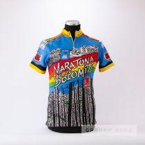 1987 blue, yellow, red, green and orange Italian Marathon Delle Dolomiti Cycling race jersey,