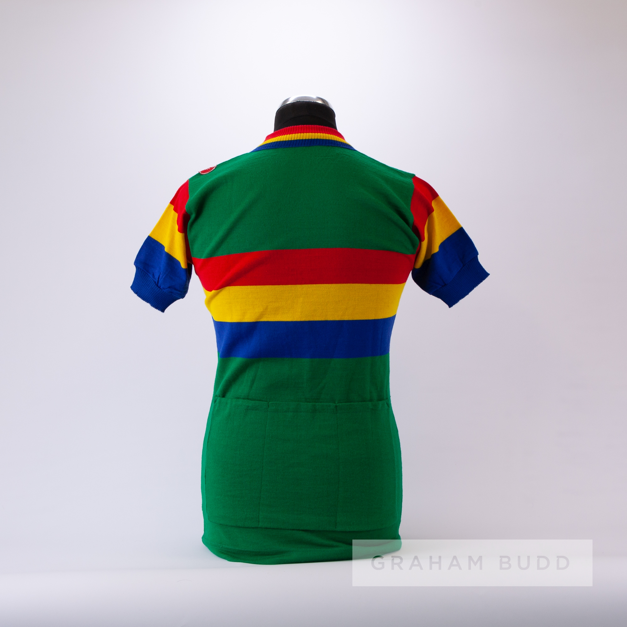 1970s green, red, yellow and blue vintage Italian Castelli Cycling race jersey, scarce, wool and - Image 4 of 4