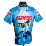1996 blue, white and navy Biemme replica Cycling race jersey, in the style worn by the Gewiss