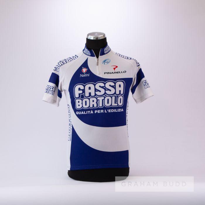 2000 white and blue Italian Fassa Bortolo Cycling race jersey, scarce, polyester short-sleeved