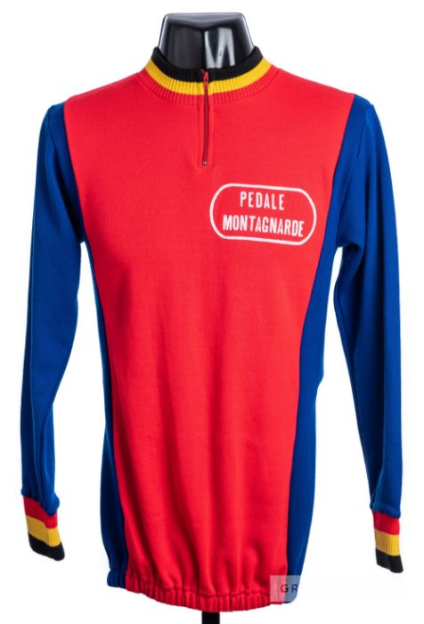 1972 red, blue, yellow and black vintage Pedale Montagnarde Cycling team race jersey, scarce,