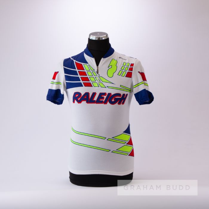 1986 white, navy, red and yellow Raleigh Cycling team race jersey, scarce, polyester short-sleeved