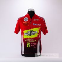 1985 red, yellow and navy Team Bicimania Cycling race jersey, scarce, polyester short-sleeved jersey