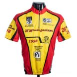 1998 red, yellow and black 294k Historic Milano Sanremo Cycling race jersey, in the style worn by