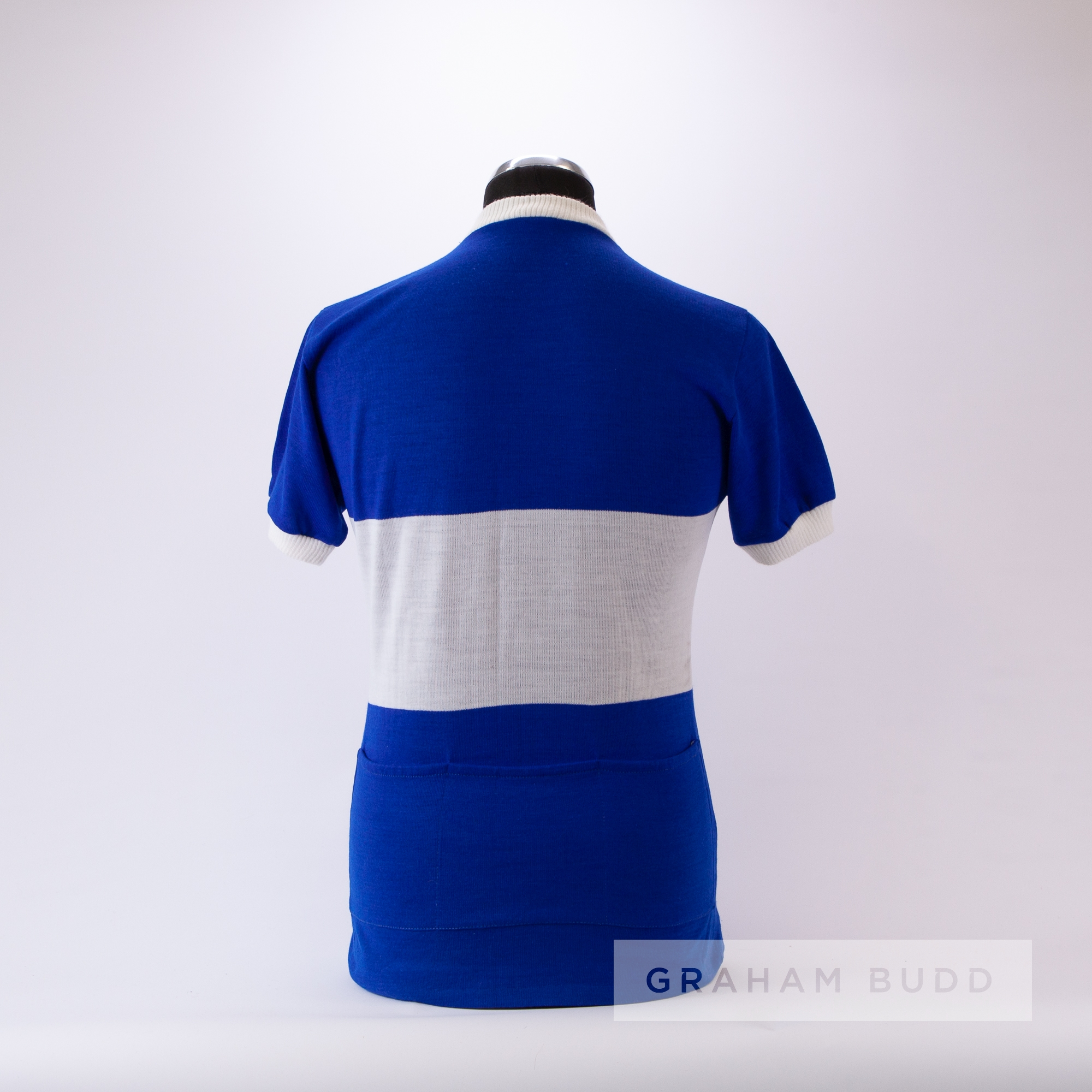 1985 blue and white La Hutte Eroica Cycling team race/tour jersey, scarce, acrylic short-sleeved - Image 4 of 4