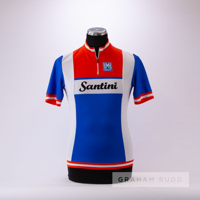1970s blue, white and red Italian Santini replica Cycling race jersey, scarce, polyester short-