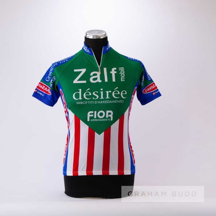1985 green, blue, red and white Italian Zalf Desiree Fior MSTNA Cycling race jersey, scarce,
