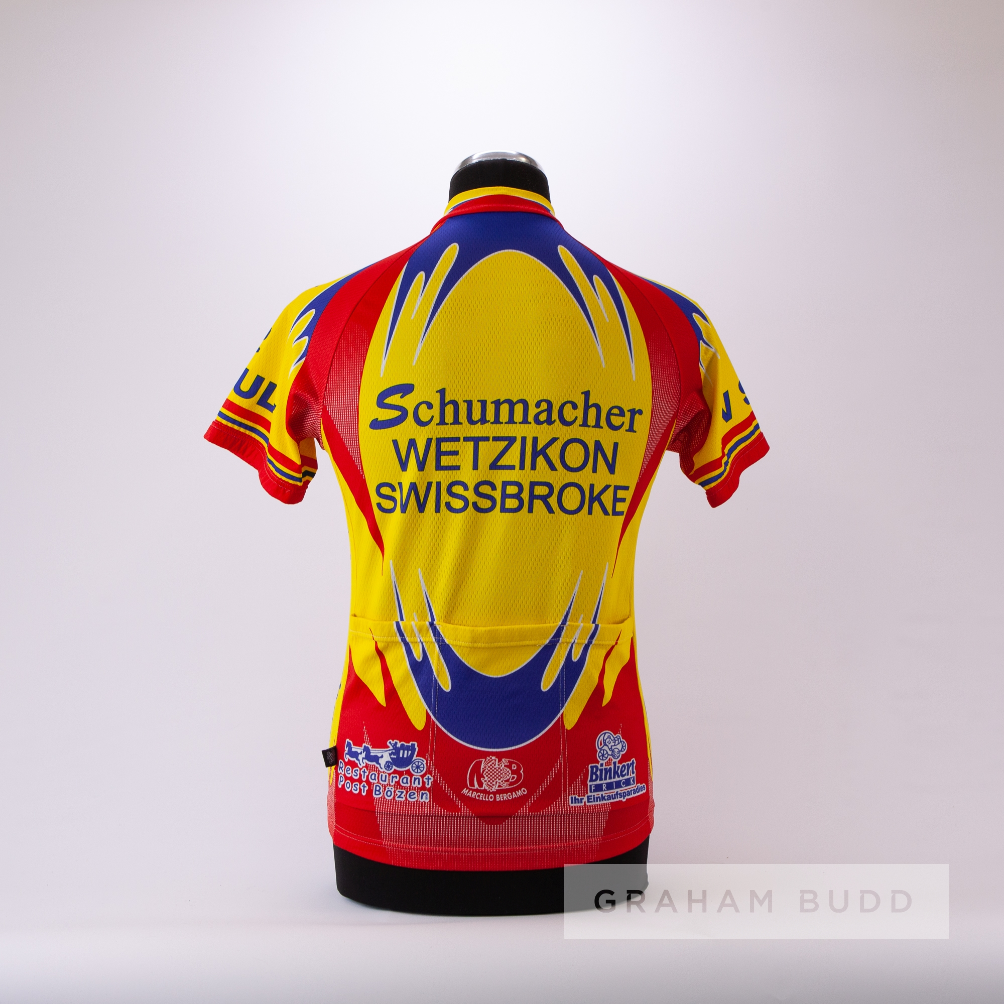2006 yellow, red and blue WetzIkon SwissBroke Cycling race jersey in the style worn by Stefan - Image 4 of 4