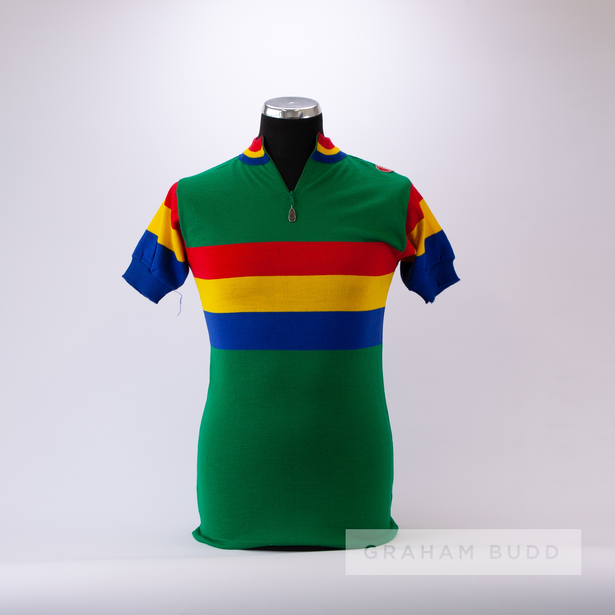 1970s green, red, yellow and blue vintage Italian Castelli Cycling race jersey, scarce, wool and - Image 3 of 4